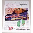 1937 Dr. West's Toothbrushes Color Print Ad - Anit-Soggy!