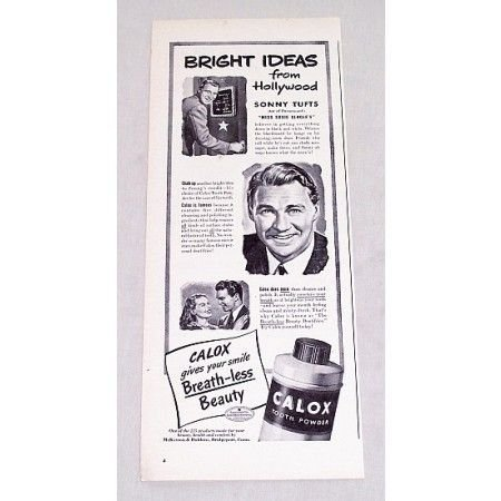 1946 Calox Tooth Powder Vintage Print Ad Celebrity Sonny Tufts