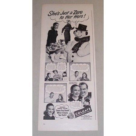1948 Colgate Dental Cream Vintage Print Ad - She's Just A Zero