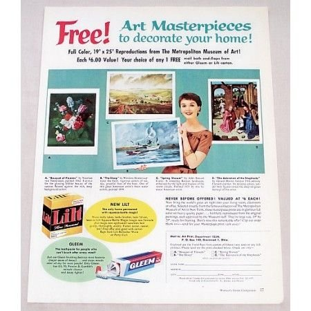 1956 Gleem and Lilt Art Masterpiece Offer Color Print Ad