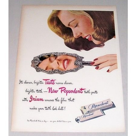 1946 Pepsodent Tooth Paste Color Print Ad - Cleaner Brighter