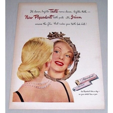 1946 Pepsodent Tooth Paste Color Print Ad
