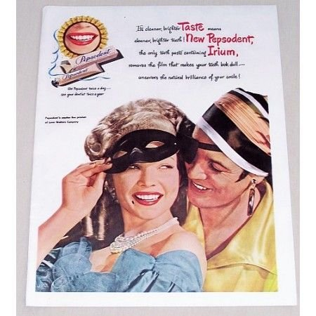 1947 Pepsodent Toothpaste Masks Pirates Color Print Ad