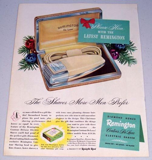 1949 Remington Contour DeLuxe Electric Shaver Color Print Ad