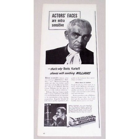1946 Williams Shaving Cream Vintage Print Ad Celebrity Boris Karloff