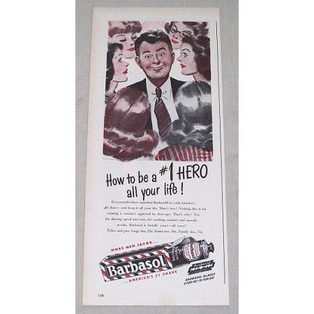 1946 Barbasol Beard Softener Color Print Art Ad - Be A #1 Hero