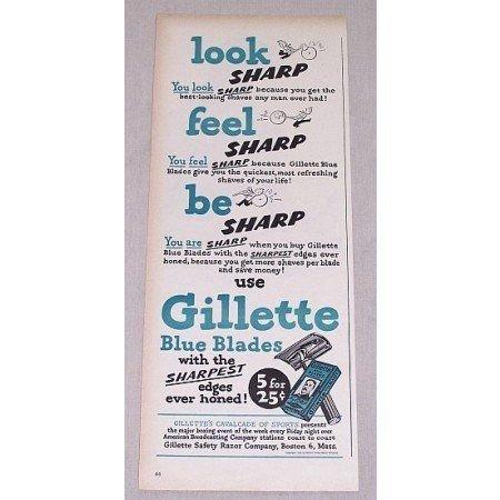 1946 Gillette Blue Blades Shaving Razor Blades Color Print Ad