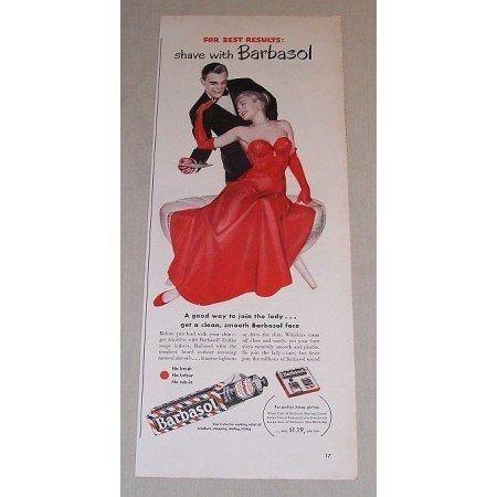 1948 Barbasol Beard Softener Woman Red Dress Color Print Art Ad