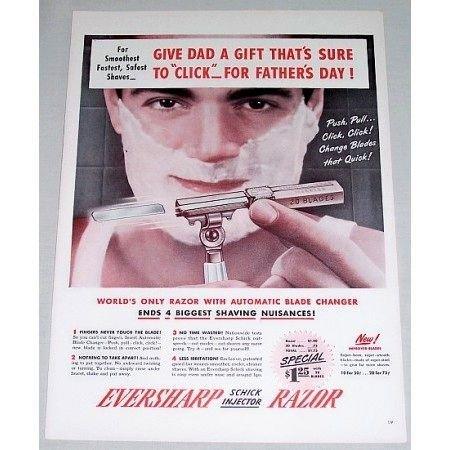 1948 Eversharp Schick Injector Razor Color Print Ad