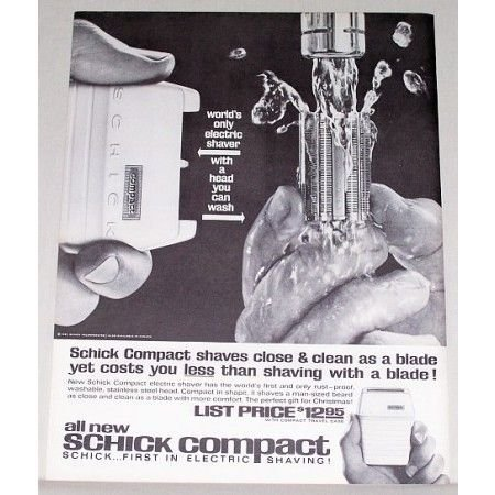 1961 Schick Compact Electric Shaver Vintage Print Ad
