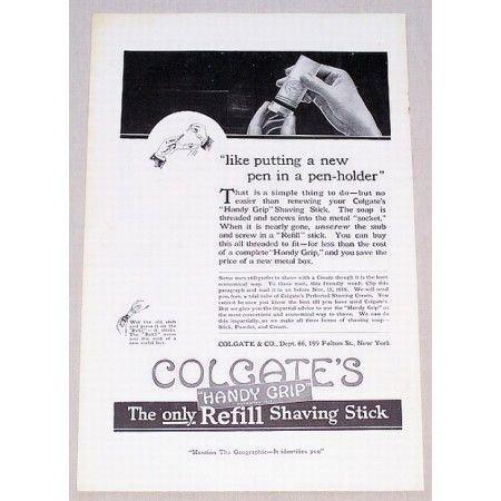 1919 Colgate Refill Shaving Stick Vintage Print Ad - Handy Grip