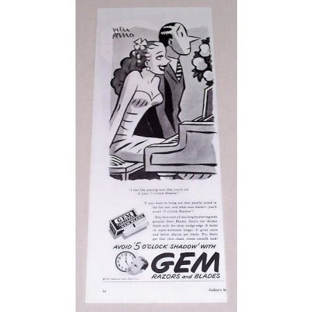 1944 Gem Razors and Blades Vintage Print Ad - Avoid 5 O'Clock Shadow
