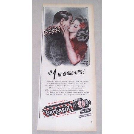 1946 Barbasol Beard Softener Color Print Ad - #1 In Close-Ups