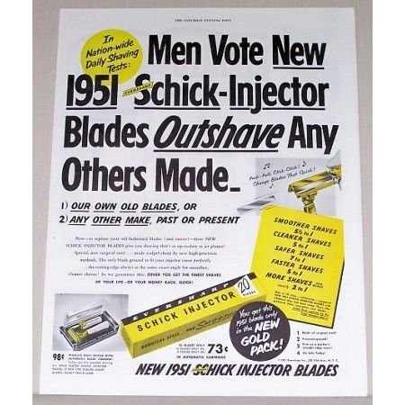 1951 Eversharp Schick Injector Blade Color Print Ad - Men Vote
