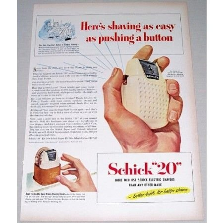1951 Schick 20 Electric Shaver Color Print Ad - Push Button