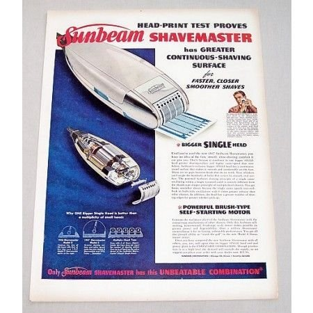 1947 Sunbeam Shavemaster Electric Shaver Color Print Ad