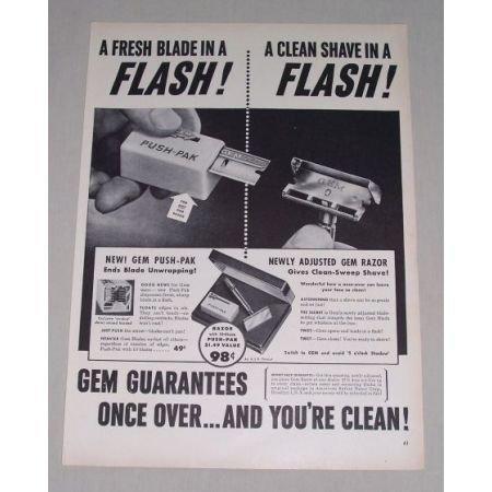 1949 Gem Push Pack Shaving Razors Vintage Print Ad
