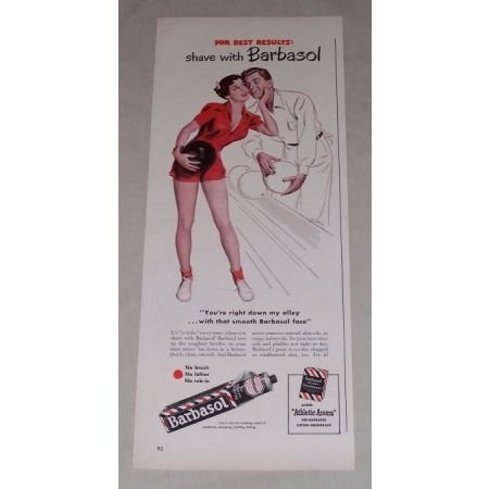 1949 Barbasol Shaving Cream Color Print Bowling Art Ad