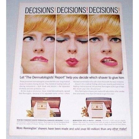 1961 Remington Shavers Color Print Ad - Decisions Decisions