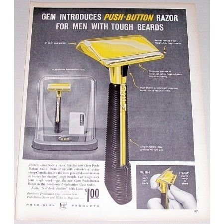 1958 ASR Gem Push Button Razor Shaving Vintage Print Ad