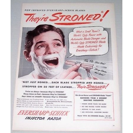 1948 Eversharp Schick Injector Razor Color Print Ad - They're Stroned
