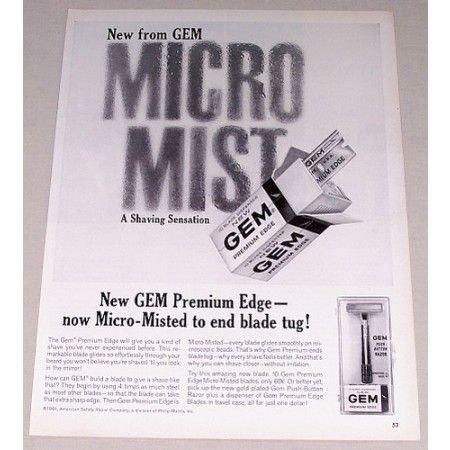 1961 Gem Premium Edge Razor Blades Vintage Print Ad - Micro Mist