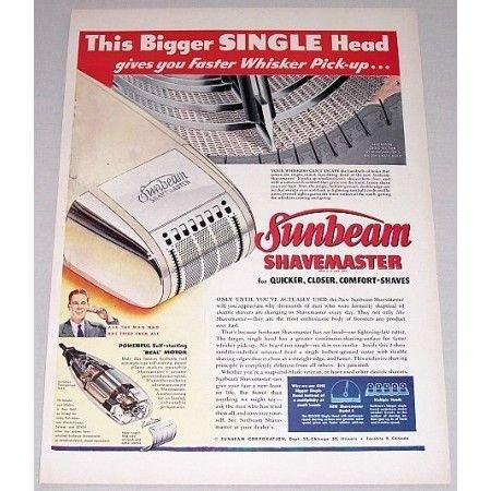 1948 Sunbeam Shavemaster Electric Shaver Color Print Ad