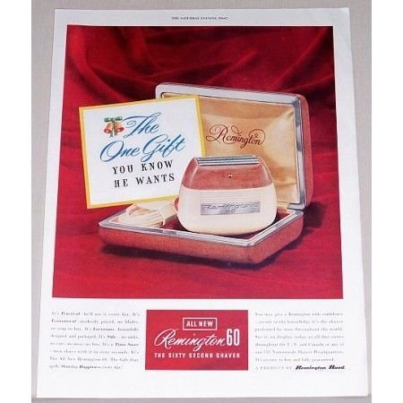 1951 Remington 60 Electric Shaver Color Print Ad - 60 Second Shaver
