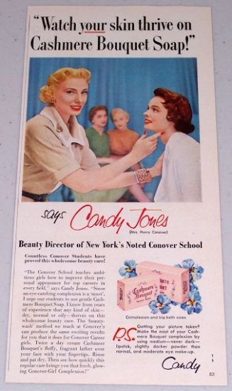 1955 Cashmere Bouquet Soap Color Print Ad New York Beauty Director Candy Jones