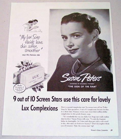 1948 Lux Toilet Soap Vintage Print Ad Celebrity Susan Peters