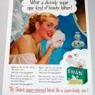 1948 Swan Pure White Soap Color Print Ad - Beauty Lather