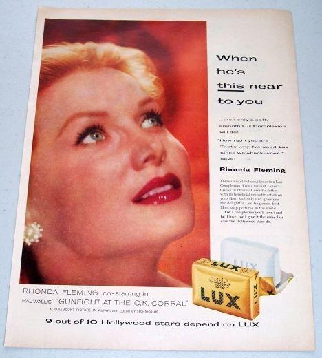 1957 Lux Soap Color Print Ad Celebrity Rhonda Fleming