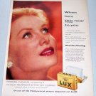 1957 Lux Soap Color Print Ad Celebrity Rhonda Fleming