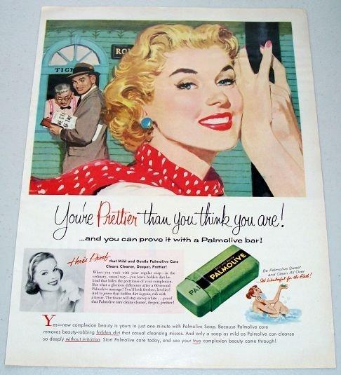 1957 Palmolive Soap Bar Color Print Art Ad - Your Prettier
