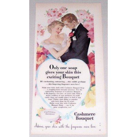 1949 Cashmere Bouquet Soap Color Print Art Ad - Adorns Your Skin