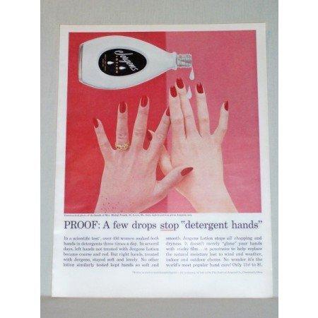 1957 Jergens Lotion Color Print Ad - A Few Drops Stop
