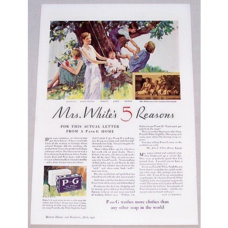 1932 P G Naptha Soap Color Print Art Ad - Mrs White's 5 Reasons