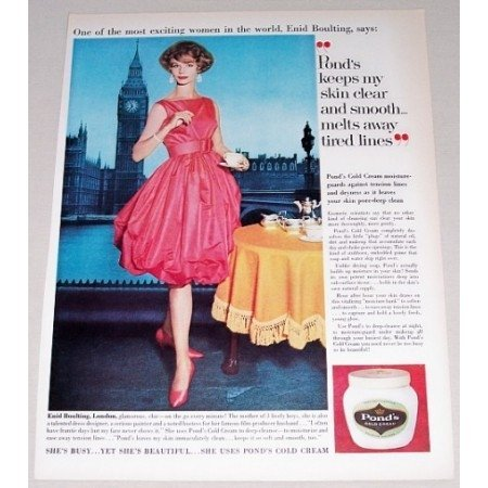1961 Pond's Cold Cream Color Print Ad Celebrity Enid Boulting