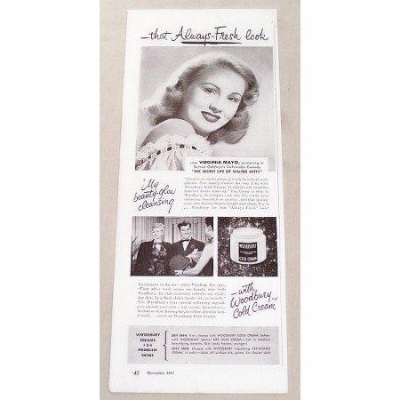 1947 Woodbury Cold Cream Vintage Print Ad Celebrity Virginia Mayo