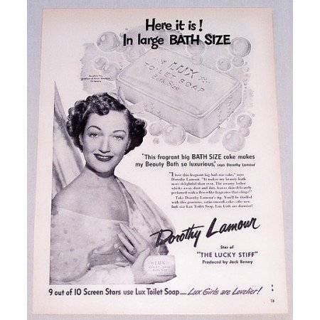 1949 Lux Toilet Soap Vintage Print Ad Celebrity Dorothy Lamour