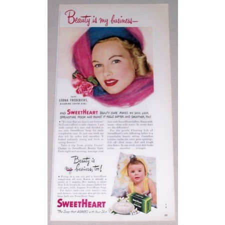 1949 Sweetheart Soap Color Print Ad Celebrity Leona Fredericks