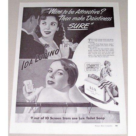1942 Lux Toilet Soap Vintage Print Ad Celebrity Ida Lupino