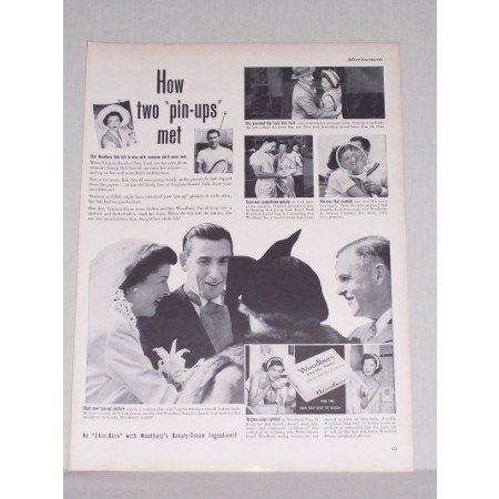 1950 Woodbury Facial Soap Vintage Print Ad - How Two Pin-ups Met