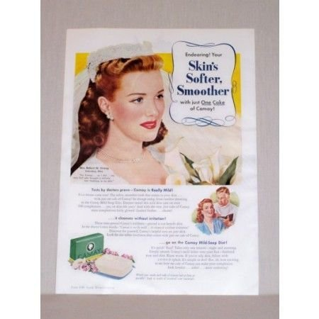 1945 Camay Soap Color Print Ad - Woman In Wedding Gown