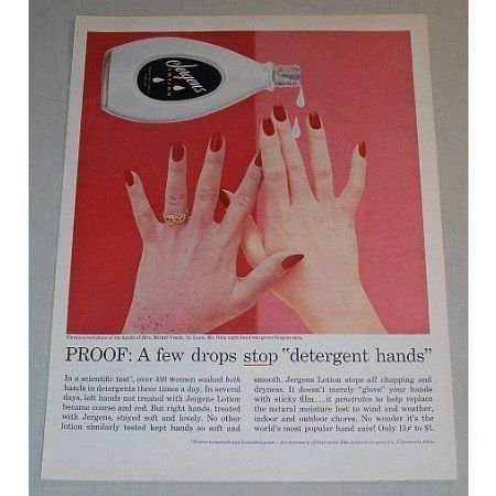 1957 Jergens Lotion Vintage Color Print Ad - A Few Drops Stop...