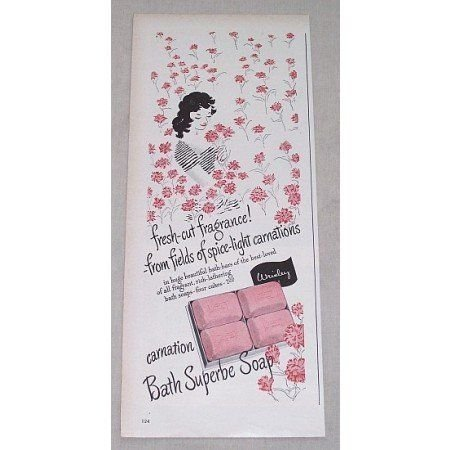 1946 Wrisley Carnation Bath Superbe Soap Vintage Color Print Ad