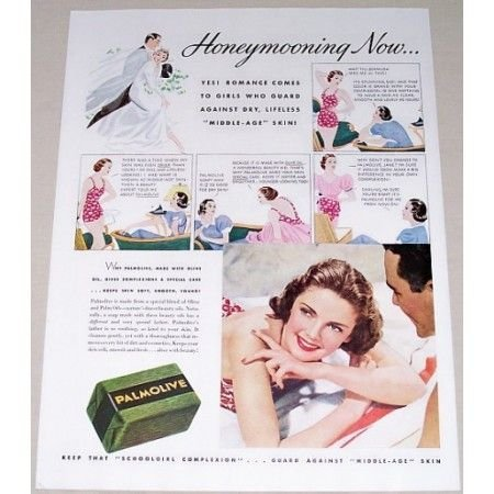 1937 Palmolive Soap Vintage Color Print Ad - Honeymooning Now