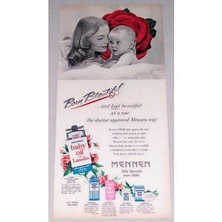 1952 Mennen Baby Oil Vintage Color Print Ad - Born Beautiful