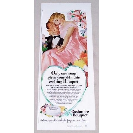 1949 Cashmere Bouquet Soap Color Print Art Ad