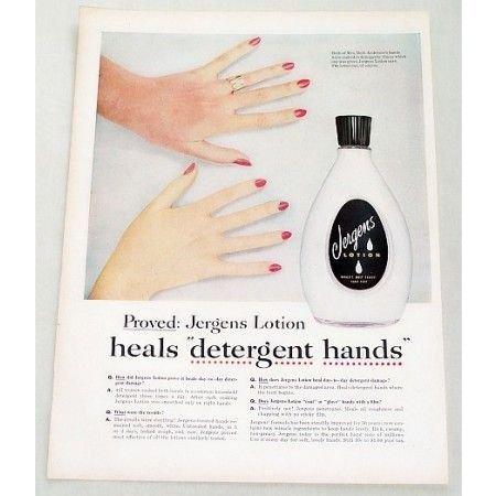 1956 Jergens Lotion Color Print Ad - Heals Detergent Hands